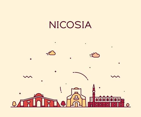 Nicosia skyline, Cyprus. Trendy vector illustration linear style Иллюстрация