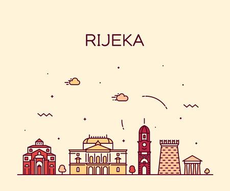 Rijeka skyline Croatia vector city linear style Illustration