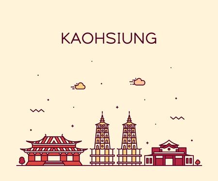 Kaohsiung skyline, Taiwan. Trendy vector illustration linear style