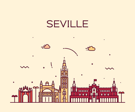 Seville skyline Spain vector linear style city Çizim
