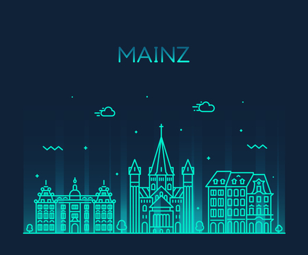 Mainz skyline city Germany vector linear style