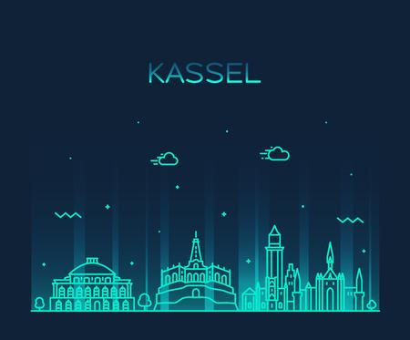 Kassel skyline northern Hesse Germany vector line Illustration