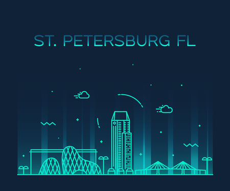 St Petersburg skyline Pinellas Florida USA vector Illustration