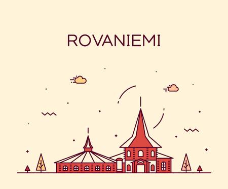 Rovaniemi skyline, Finland. Trendy vector illustration linear style Ilustração