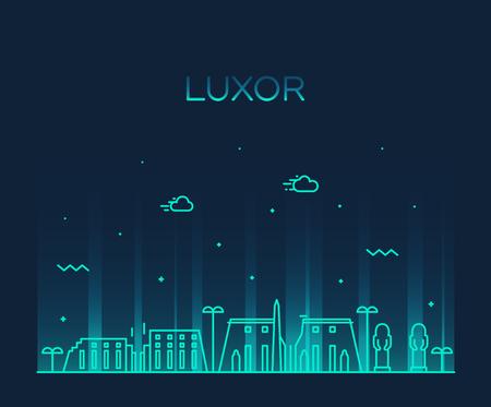 Luxor skyline Egypt vector big city linear style
