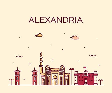 Alexandria skyline Egypt vector drawn linear style