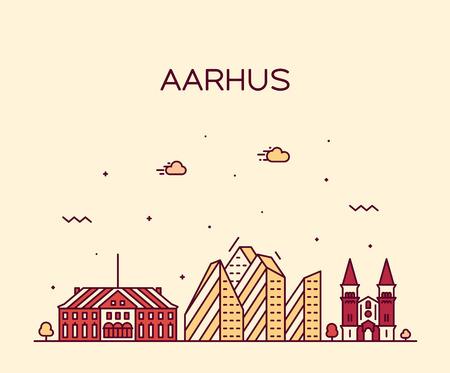 Aarhus skyline Denmark vector city linear style