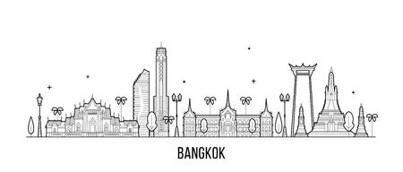 Bangkok skyline Thaïlande ville vecteur style linéaire Vecteurs