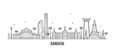 Bangkok skyline Thailand city vector linear style