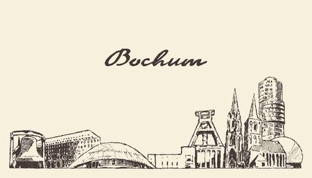 Bochum skyline, North Rhine-Westphalia, Germany, hand drawn vector illustration, sketch 向量圖像