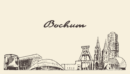 Bochum skyline, North Rhine-Westphalia, Germany, hand drawn vector illustration, sketch Illustration