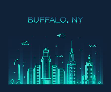 Horizonte de Buffalo, Nueva York, Estados Unidos. Estilo lineal de ilustración vectorial de moda