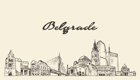 Belgrade skyline, Serbia, hand drawn vector illustration sketch Illustration