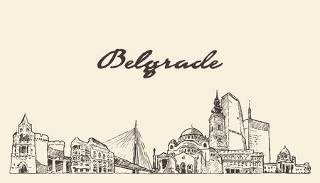Belgrade skyline, Serbia, hand drawn vector illustration sketch Illustration