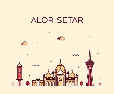 Alor Setar skyline Kedah Malaysia vector linear Illustration