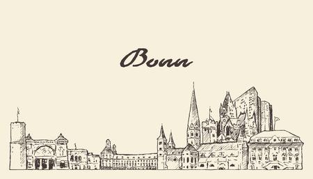 Bonn skyline Germany hand drawn vector sketch