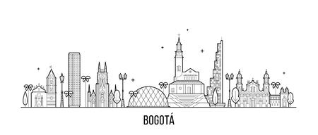 Skyline von Bogota, Distrito Capital, Kolumbien. Diese Illustration stellt die Stadt mit ihren bemerkenswertesten Gebäuden dar. Vektor ist vollständig editierbar, jedes Objekt ist ganzheitlich und beweglich Vektorgrafik