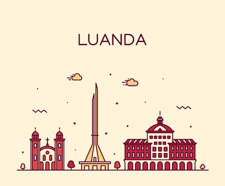 Luanda skyline, Angola. Trendy vector illustration linear style