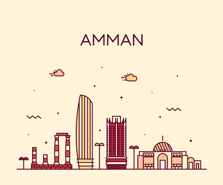 Amman skyline Jordan vector big city linear style