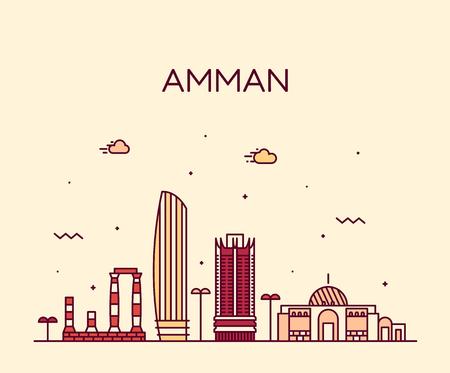 Amman skyline Jordanie vecteur style linéaire de grande ville Vecteurs
