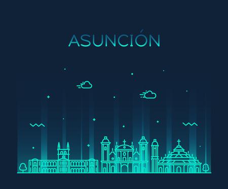 Asuncion skyline, Paraguay. Trendy vector illustration linear style