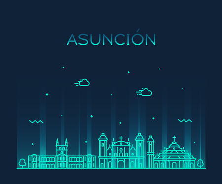 Asuncion skyline, Paraguay. Trendy vector illustration linear style Zdjęcie Seryjne - 120985813