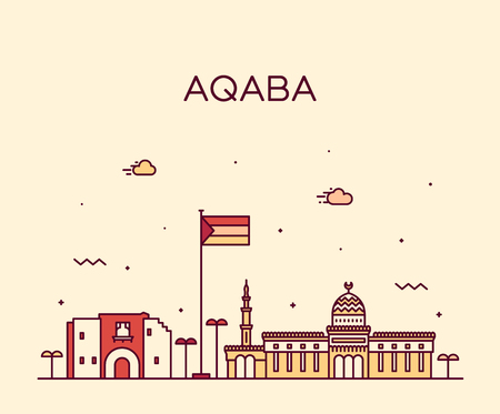 Aqaba skyline Sudan vector big city linear style