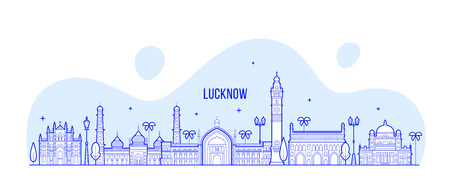 Lucknow skyline, Uttar Pradesh, India. This illustration represents the city with its most notable buildings. Vector is fully editable, every object is holistic and movable Ilustrace
