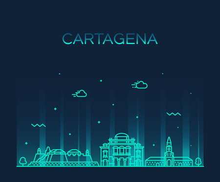 Cartagena skyline Colombia big city vector linear