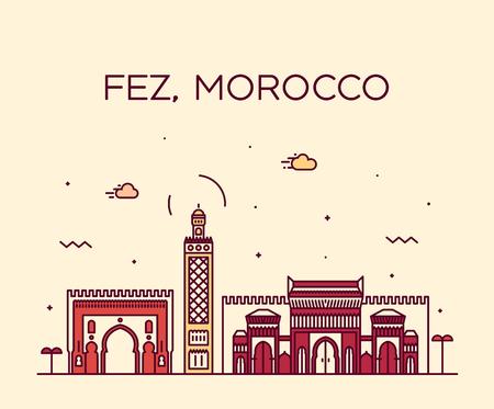 Fez skyline Morocco Trendy vector linear style Vetores