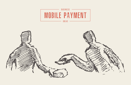 Person pays for purchases using a cell phone. Concept of mobile payment, contactless payment. Hand drawn vector illustration, sketch