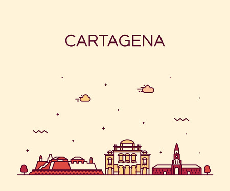 Cartagena skyline, Colombia. Trendy vector illustration linear style Illustration