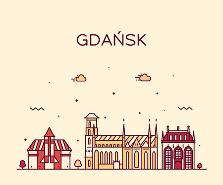 Gdansk skyline, Poland. Trendy vector illustration linear style