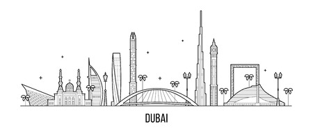 Dubai skyline United Arab Emirates UAE city vector 向量圖像