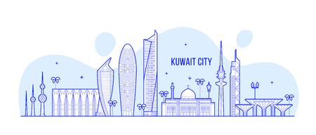 Koweït city skyline vector bâtiments de style linéaire