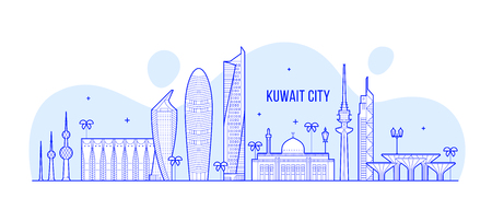 Kuwait city skyline vector linear style buildings 矢量图像