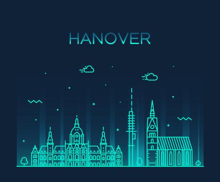 Hanover skyline Lower Saxony Germany vector linear