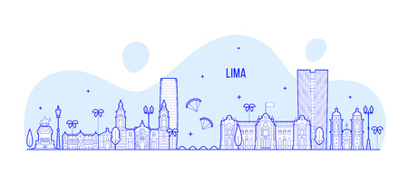 Lima skyline, Peru. This illustration represents the city with its most notable buildings. Vector is fully editable, every object is holistic and movable 일러스트