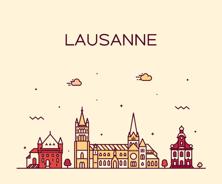 Horizonte de Lausana Suiza un estilo lineal vectorial