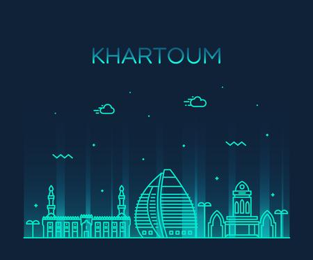 Khartoum skyline Sudan vector big city line style
