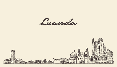 Luanda skyline, Kenya, hand drawn vector illustration sketch
