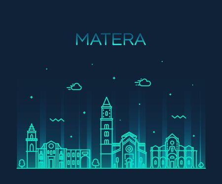 Matera skyline Basilicata Southern Italy a vector Illustration