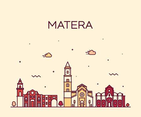 Matera skyline Basilicata Southern Italy a vector Illusztráció