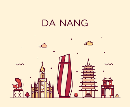 Da Nang skyline, Vietnam. Trendy vector illustration, linear style