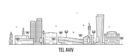 Tel Aviv skyline Israel buildings vector linear