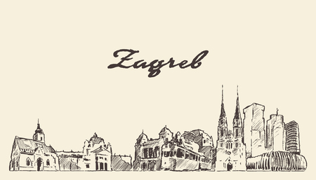 Zagreb skyline Croatia hand drawn sketch 矢量图像