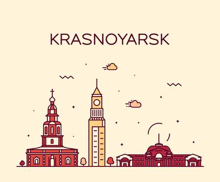 Krasnoyarsk skyline Krai Russia vector line style
