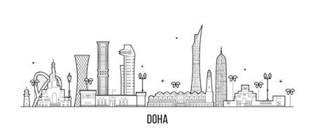 Doha skyline Qatar city buildings vector linear