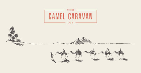Caravan of camels walking towards oasis in desert, hand drawn vector illustration, sketch