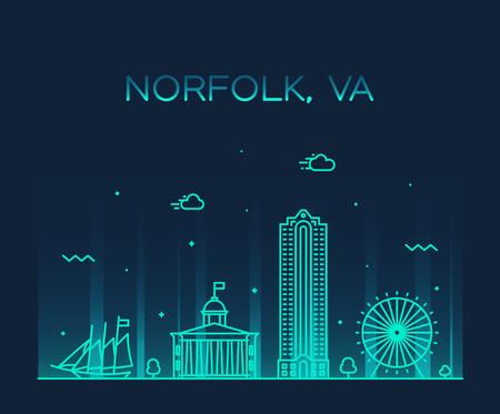 Norfolk skyline Virginia USA vector linear style Vector Illustratie
